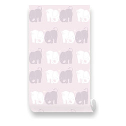 Pink & Blue Baby - Dusty Pink Elephant Love Removable Wallpaper - Repositionable Fabric Wallpaper - Honeycombs Light Green Removable Wallpaper - Peel & Stick, Repositionable Fabric