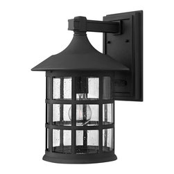 Hinkley Lighting - Hinkley Lighting 1805BK Freeport Transitional Outdoor Wall Sconce - Large - Freeport features a classic New England design in cast aluminum construction complemented by clear seedy glass for a timeless traditional style that will complement a variety of exteriors.
