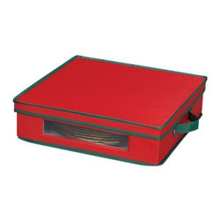 Household Essentials - Holiday Charger Plate Storage Chest - Pretty packages are not limited to under the tree this season! Treat your holiday china to a bit of festivity year round with these Holiday China Storage Chests. Strong and durable, these festively attired red and green boxes provide safe and sturdy storage for your favorite holiday ware. Window Vision in each box front allows you to choose exactly which piece and pattern you want, so no time is wasted searching through the wrong box! Each chest is equipped with felt protectors or cardboard dividers to store a service for 12.