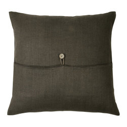 Libeco - Broome Pillow Cover, choice of nine colors, Wheat - The Broome Pillow Cover, with button detailing,  is available in Bone, Caffenoir, Celadon, Flax, Rust, Topaz, Vison, Wheat and White.