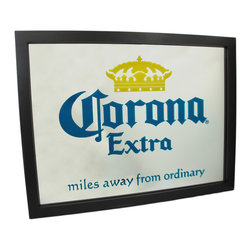 Corona Extra 26 Inches X 20 Inches Bar Mirror Cerveza - This officially licensed Corona Extra Crown logo wall mirror is the perfect addition to home bars, dorm rooms and game rooms. It has a black plastic frame and has the Corona Extra label label painted directly onto the mirror. It measures 26 inches wide, 20 inches tall. The mirrored area is 24 inches wide, 18 inches tall. This bar mirror makes a great gift for any Corona lover.