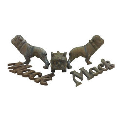"""Used Mack Truck Hood Ornament & Emblems - This is what appears to be a complete set of Mack Truck bulldog hood ornaments and emblems. The pieces are heavy! The hardware as shown is included.     Hood ornament is 1.5""""W x 5"""" D x 3.75"""" H  Two """"Mack"""" emblems are 7"""" wide by 2.5"""" high.   Bulldog emblems are 6.25"""" wide by 3.75"""" high."""