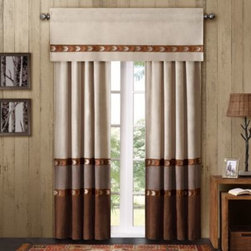 Sedona - Cedar Ridge Allegheny Window Panel Pair - Update your bedroom with a rustic feel with the Allegheny window panel pair. It features pieced polyester microfiber with decorative embroidery on the seams that coordinates perfectly with the comforter set.