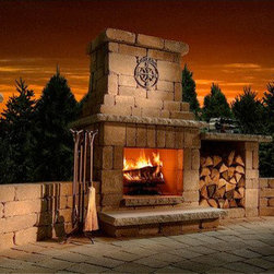 Colonial Stone Outdoor Fireplace Kit - Your backyard guests will be amazed when you tell them the Colonial Stone Outdoor Fireplace Kit was a weekend DIY project. -Mantels Direct