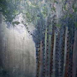 Mixed Media Surrealistic Tree Canvas Landscape Painting - Handmade Original surrealistic landscape.Titled: Listening to the Spirit of the Trees Landscape Painting