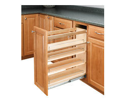 """Rev-A-Shelf - Rev-A-Shelf 448-BC-8C 8"""" Pullout Base Cabinet Organizer w/ Adjustable Shelves - If you are looking to give your kitchen a trendy contemporary look or even a conventional look, the 8"""" Pullout Maple Base Cabinet Organizer will fit in with your design concept. One of the most innovative pullout units in the industry, it is built from quality materials, made from maple, and features a UV clear coat finish, so these organizers are meant to last. It also features adjustable shelves with chrome rails to hold your kitchen products in place, and the patented ball-bearing tri-slide system. The Rev-A-Shelf 448-BC-8C is designed specifically for full height face frame base cabinets. Door mounting is easy with our patented door mount brackets that provide up to 5 inches of flexibility for trouble-free installation on any door style. Designed for 9"""" full height face frame base cabinets. Physical specifications: 8"""" W x 22-7/16"""" D x 25-7/16"""" H. Minimum Cabinet Opening Required: 8-1/8"""" W x 22-1/2"""" D x 25-5/8"""" H."""