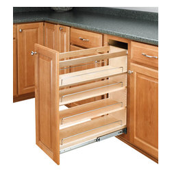 "Rev-A-Shelf - Rev-A-Shelf 448-BC-8C 8"" Pullout Base Cabinet Organizer w/ Adjustable Shelves - If you are looking to give your kitchen a trendy contemporary look or even a conventional look, the 8"" Pullout Maple Base Cabinet Organizer will fit in with your design concept. One of the most innovative pullout units in the industry, it is built from quality materials, made from maple, and features a UV clear coat finish, so these organizers are meant to last. It also features adjustable shelves with chrome rails to hold your kitchen products in place, and the patented ball-bearing tri-slide system. The Rev-A-Shelf 448-BC-8C is designed specifically for full height face frame base cabinets. Door mounting is easy with our patented door mount brackets that provide up to 5 inches of flexibility for trouble-free installation on any door style. Designed for 9"" full height face frame base cabinets. Physical specifications: 8"" W x 22-7/16"" D x 25-7/16"" H. Minimum Cabinet Opening Required: 8-1/8"" W x 22-1/2"" D x 25-5/8"" H."