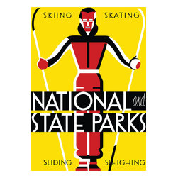 """National and State Parks Print - This 1930 poster by Dorothy Waugh was created as an advertisement for the National Park Service. It shows a person on skiis and reads """"skiing, skating, sliding, sleighing""""."""