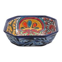 """Mexican Talavera - Mexican Talavera 6.5"""" Octagonal Bowl - Available in Four Designs, Design A - Mexican Talavera 6.5"""" Octagonal Bowl"""