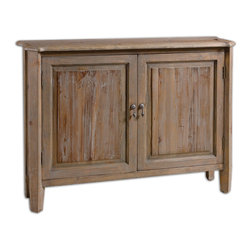 Uttermost - Altair Reclaimed Wood Console Cabinet - Here's a reclaimed wood console cabinet that welcomes smaller spaces. At only 10-inches deep, it offers a warm weathered look and storage for your everyday items without taking up valuable square footage. The antique drop pulls, scalloped sides and outer tapered legs complement your traditional style.