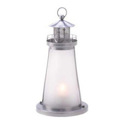 Lookout Lighthouse Candle Lamp - Brighten your evening with a cheery seaside glow! Just add a votive inside this miniature lighthouse and enjoy the ambiance!