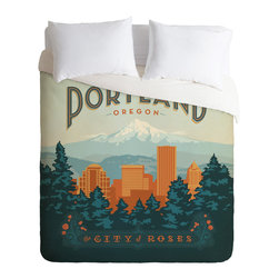 DENY Designs - DENY Designs Anderson Design Group Portland Duvet Cover - Lightweight - Turn your basic, boring down comforter into the super stylish focal point of your bedroom. Our Lightweight Duvet is made from an ultra soft, lightweight woven polyester, ivory-colored top with a 100% polyester, ivory-colored bottom. They include a hidden zipper with interior corner ties to secure your comforter. It is comfy, fade-resistant, machine washable and custom printed for each and every customer. If you're looking for a heavier duvet option, be sure to check out our Luxe Duvets!