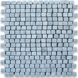 "Stone Center Corp - Carrara Marble Hand Clipped Mosaic Tile 3/4x3/4 Honed - Carrara white marble 3/4"" x 3/4"" handclipped / broken pattern pieces mounted on 12"" x 12"" sturdy mesh tile sheet"