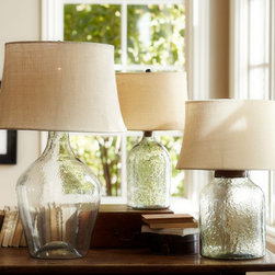Clift Glass Table Lamp Base, Clear - Glass jug lamps with natural shades are light and airy, adding to the soft and natural feel of a summer seaside escape.