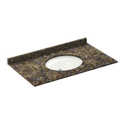 LessCare - 43x22 Blue Butterfly Granite Vanity Countertops - 8 Faucet Spread - *Condition: New