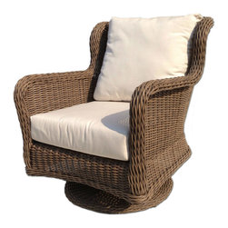 Wicker Paradise - Outdoor Wicker Swivel Chair - Bayshore - Create comfortable seating with this outdoor wicker swivel rocker. Built on an aluminum frame, our chairs are made to last. Sunbrella canvas cushions are easy to maintain and are fade resistant. Start enjoying your swivel rocker chair today!