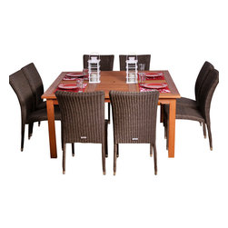 International Home Miami - Amazonia BT Provence Square 9-Piece Patio Dining Set - Great Quality, elegant design patio set, made of solid eucalyptus wood, aluminum and synthetic wicker. FSC (Forest Stewardship Council) certified. Enjoy your patio with style with these great sets from our Amazonia outdoor collection
