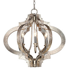 Contemporary Chandeliers Possini Ornament Aged Silver 6-Light Chandelier