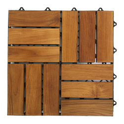 Bare Decor - U-Snap Interlocking Wood Floor Tiles in Solid Teak Wood (Set of 10) - The U-Snap interlocking flooring tiles come in a natural finish in a solid teak wood. No glue or tools are required- just snap the interlocking tiles together. Can be used for indoor or outdoor settings. Perfect for a entryway, mudroom, deck, terrace, showers, bathrooms, or anywhere in between. Solid hardwood - scratches can be sanded out. Easy installation over slighly uneven surfaces.  Pack of 10.