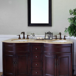 Bellaterra Home - Double Sink Travertine Top Wood Vanity - Look no further than this double sink vanity for more bathroom storage. With four drawers and plenty of interior cabinet space,this vanity is spacious while bringing beauty into the bathroom.