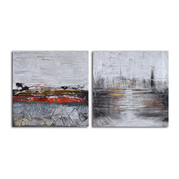 Tales of city sidewalks Hand Painted 2 Piece Canvas Set - This handcrafted acrylic on canvas sets an imagistic mood reminiscent of abstract expressionism. Seeming to capture the glow of a city pavement, these two pieces will be the perfect finish to your industrial loft.