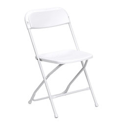 Flash Furniture - Flash Furniture Hercules Series Premium White Plastic Folding Chair - Plastic folding chairs are the choice of many event planners for their lightweight design, ease of cleaning, and versatility among events. This portable folding chair can be used for banquets, parties, graduations, sporting events, school functions and in the classroom. This chair will be the perfect addition in the home when in need of extra seating to accommodate guests. constructed of lightweight textured polypropylene and a strong steel frame, these folding chairs will suit most any occasion. [LE-L-3-WHITE-GG]