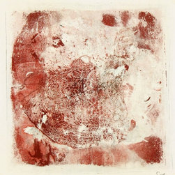 Crimson & Silver Monotype - Original abstract acrylic monotype created with swirling, interlocking lines by contemporary, Santa Fe-based artist Spe, 2013. Signed lower right.