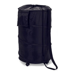Pop Up Hamper On Wheels - Honey-Can-Do HMP-01454 Large Nylon Rolling Pop-up Hamper, Black. Want a do-it-all hamper brimming with features? Now you've got it. This large black nylon hamper pops-up to open and easily compresses flat when not in use. A spiral steel frame and solid laminated bottom give this hamper structure, while the 5 heavy-duty casters makes transporting a full hamper a breeze. The extra long shoulder strap and mesh top with cinch cord instantly transform the hamper into a fully mobile laundry bag. A large zippered accessory pocket, perfect for small boxes of detergent or fabric softener, rounds out the features. The nylon material is durable and easy to clean. Keep clothes off of the floor and your space neat and clean with this attractive and practical hamper.