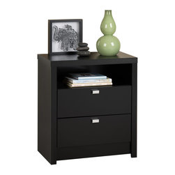 Prepac Furniture - Prepac Black Series 9 Designer Tall 2 Drawer Nightstand - This nightstand adds style to your bedroom and functionality with two smooth sliding drawers for out-of-sight storage. Finished in a durable rich espresso laminate, the Prepac Black Series 9 Designer Tall 2 Drawer Nightstand has rectangular chrome-finished metal drawer pulls. The convenient open shelf for additional storage is the perfect spot for your favorite books and magazines. The nightstand with 28 inches tall has the ideal height for taller beds with pillow top mattresses.    Features: