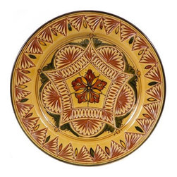 "Ceramic (Wood-fired) - Amber Carved Decorative Plate, 9"" - Amber Carved Decorative Plates from Morocco"