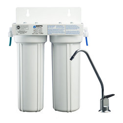 None - Two-stage Under-counter Water Filter - Purify your household water by installing this compact under-counter water filter with long-reach, lead-free faucet. The two-stage system will reduce numerous chemicals and minerals in your water to provide you with clean, fresh-tasting water.