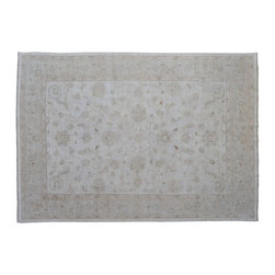 Oriental Rug, Oushak Stone Wash Ivory 9'X12' 100% Wool Hand Knotted Rug SH9237 - Hand Knotted Oushak & Peshawar Rugs are highly demanded by interior designers.  They are known for their soft & subtle appearance.  They are composed of 100% hand spun wool as well as natural & vegetable dyes. The whole color concept of these rugs is earth tones.