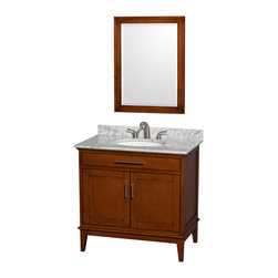 Wyndham Collection - Eco-Friendly Single Bathroom Vanity with Undermount Oval Sink - Includes white Carrera marble countertop. Faucet and mirror not included. Two functional doors. Transitional style. 8 in. widespread three hole faucet mount. 12 stage wood preparation, sanding, painting and hand-finishing process. Highly water-resistant low V.O.C. sealed finish. Practical floor-standing design. Deep doweled drawers. Fully-extending under-mount soft-close drawer slides. Concealed soft-close door hinges. Single faucet hole mount. Plenty of storage and counter space. Metal exterior hardware with brushed chrome finish. Engineered to prevent warping and last a lifetime. Made from zero emissions solid birch hardwood. Light chestnut finish. Vanity: 35 in. W x 21.5 in. D x 34.25 in. H. Vanity with Countertop: 36 in. W x 22 in. D x 35 in. H. Countertop: 36 in. W x 22 in. D x 0.75 in. H. Backsplash: 36 in. W x 0.75 in. D x 3 in. H. Warranty. Care Instructions. Counter Handling Instructions. Installation InstructionsBring a feeling of texture and depth to your bath with the gorgeous Hatton vanity series. A contemporary classic for the most discerning of customers. The Wyndham Collection is an entirely unique and innovative bath line. Sure to inspire imitators, the original Wyndham Collection sets new standards for design and construction.
