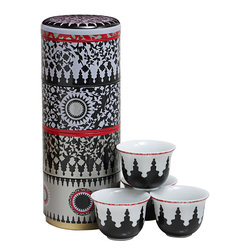 "Images d'Orient Mediterranean Design - From French-Lebanese brand Images d'Orient, these gift-ready sets include four decorative porcelain espresso cups within individual stackable tins. A beautiful wrap on its own, the tins can be re-used to keep odds and ends safe. The mosaic design is reminiscent of the meticulous art of mosaic where layout prototypes were jealously preserved and transmitted from the ""maalem"" -- the master or professor -- to his apprentice. These cut stones, called zelliges, follow an aesthetic order and a harmonious negative-positive play, leaving the viewer in perpetual meditation. Cups are made from quality porcelain using an intricate multi-color injection process to ensure long-term use. Colors will not fade. Set includes four cups in four stackable tins. Dimensions: Cups measure 2"" diameter x 2"" high; stacked tin boxes, which measure 3"" in diameter x 9"" high."