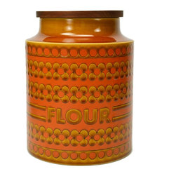 Hornsea England on base - Consigned Porcelain Flour Storage Kitchen Jar by Hornsea, Vintage English, 1970s - Flour storage kitchen jar in porcelain with wooden lid, stylised floral decoration by Hornsea, vintage English, 1970s.This is a vintage One of a Kind item. Some wear and imperfections are to be expected, as described.