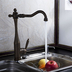 Kitchen Sink Faucets - Antique Inspired Kitchen Faucet (Antique Brass Finish)--FaucetSuperDeal.com