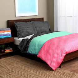 None - Ella Polka Dot 600 Thread Count 3-piece Duvet Cover Set - Bring lively two-tone color to your bedroom with this whimsical polka dot duvet cover set. Available in several vibrant shades,this wrinkle-resistant cover and sham set features a luxurious and comfortable 600 thread count design.
