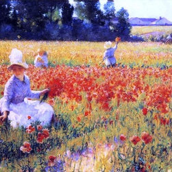 "Robert Vonnoh Coquelicots (also known as In Flanders Field) - 14"" x 28"" Premium - 14"" x 28"" Robert Vonnoh Coquelicots (also known as In Flanders Field) premium archival print reproduced to meet museum quality standards. Our museum quality archival prints are produced using high-precision print technology for a more accurate reproduction printed on high quality, heavyweight matte presentation paper with fade-resistant, archival inks. Our progressive business model allows us to offer works of art to you at the best wholesale pricing, significantly less than art gallery prices, affordable to all. This line of artwork is produced with extra white border space (if you choose to have it framed, for your framer to work with to frame properly or utilize a larger mat and/or frame).  We present a comprehensive collection of exceptional art reproductions byRobert Vonnoh."