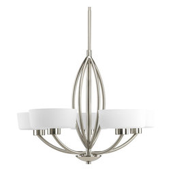 Progress Lighting - Progress Lighting P4539 Calven Five-Light Single-Tier Chandelier - 5-light chandelier with white fabric shades, bold graphic lines and a sculptural framework.Features: