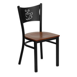 Flash Furniture - Hercules Series Black Coffee Back Metal Restaurant Chair with Cherry Wood Seat - Provide your customers with the ultimate dining experience by offering great food, service and attractive furnishings. This heavy duty commercial metal chair is ideal for Restaurants, Hotels, Bars, Lounges, and in the Home. Whether you are setting up a new facility or in need of a upgrade this attractive chair will complement any environment. This metal chair is lightweight and will make it easy to move around. For added comfort this chair is comfortably padded in vinyl upholstery. This easy to clean chair will complement any environment to fill the void in your decor.