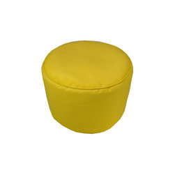 """Lava - Solid Sunbrella Sunflower Pouf - 12"""" Tall x 17"""" Round (Indoor/Outdoor) - 100% polyester cover, 100% polyestyrene bead fill. Suitable for use indoors or out. Made in USA. Spot clean only."""