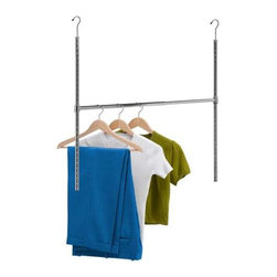 "Chrome Adjustable Hanging Closet Rod - Honey-Can-Do HNG-01816 Chrome Adjustable Hanging Closet Rod. Double your hanging space in an instant with this adjustable hanging closet rod. No tools or permanent installation required, simply adjust the hanging height to your preference and hook this rod on to your current closet bar. Notches in the vertical bars make it simple and easy to get a level hanging surface. The horizontal bar provides up to an ample 38"" wide of additional space. A great solution for every closet!"