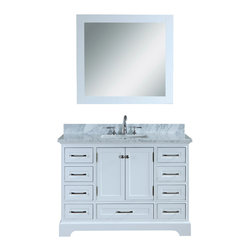 """Ari Kitchen and Bath - South Bay 48"""" White Transitional Style Bathroom Vanity and Mirror - Beautiful transitional style bathroom vanity by Ari Kitchen and Bath, a new brand manufacturing quality bathroom decor at affordable prices. The new 48"""" South Bay comes with 1"""" edge Italian carrara marble top, backsplash, undermount CUPC basin, soft-closing drawers and doors, concealed drawer hinges, framed mirror and pure white solid wood bathroom cabinet. Absolutely no MDF or Particle board on all of our bathroom vanities. All of our bathroom vanities come assembled by the manufacturer, minimal assembly required."""