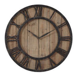 Uttermost - Powell Wooden Wall Clock - Aged wood panels accented with rustic dark bronze metal details and gold highlights