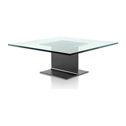 Geiger - I Beam Coffee Table - With its base reminiscent of a construction beam, this beautiful coffee table makes a shining addition to your living space. It also features a glass-top surface, allowing the clean look of the base to be admired from any angle.