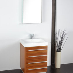 Fresca - Fresca Livello 24-in. Modern Bathroom Vanity & Medicine Cabinet FVN8024BW - FSCA - Shop for Bathroom Cabinets from Hayneedle.com! Your guest bathroom should be as stylish and cool as you which makes the Fresca Livello 24-in. Modern Bathroom Vanity and Medicine Cabinet an ideal addition to that smaller space. It is modern and sharp with a classy combination of wood metal and acrylics. This drop-in sink which features include soft-closing drawers and faucet options stands alone and comes with a medicine cabinet to complete a clean modern look.About Fresca BathFresca Bath believes that the bathroom is the most important room in the home. This is why they have created product lines that pair top-quality materials with cutting-edge designs. No detail is too small when creating a space that looks functions and feels great. Fresca Bath showcases contemporary fixtures vanities mirrors and more to make a space that enhances the home and pleases every desire of their customers.