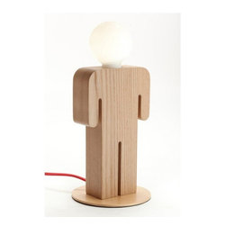 ParrotUncle - Wooden Table Lamp Unique Man's Shape Design for Living Room - Table lamps are important for our home decoration.It will bring soft light for us, and it is a special décor for our decoration style need. These series human body shape lamps are unique and stylish. They are differentiated in boys', girls', men's and women's to cpmpose a happy family.
