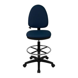 Flash Furniture - Mid-Back Navy Fabric Multi-Functional Drafting Stool with Adjustable Lumbar - Articulating the sophistication of European styling, along with the functionality of a multi-positional chair, this drafting stool from Flash Furniture is sure to please. Employing a unique adjustable lumbar support system, customizable to the specifications of almost anyone, the user can be assured of a comfortable experience not usually found in most economic drafting stools or even computer chairs. This comfort level is attained simply by supporting the natural curvature of the user's spine near the small of the back - right at the point where most people experience lower back pain.