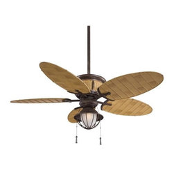 """Minka Aire Fans - Shangri-La Ceiling Fan by Minka Aire Fans - Welcome to your outdoor utopia. Inspired by the James Hilton novel depicting a tropical, mystical utopian society, the Minka Aire Shangri-La Ceiling Fan features all weather bamboo blades, a caged etched glass shade, and wicker detail along the body of the fan. Uses a 3-speed pull chain and a cap for non-light use. The Minka Group, located in Corona, CA, offers a variety of products, including Minka Aire fans, Minka Lavery lighting, and George Kovacs fans and lighting. The Minka Aire Shangri-La Ceiling Fan is available with the following: Details:Caged Etched glass shadeIncludes cap for non-light use5 Bamboo All Weather bladesVintage Rust finish3-speed forward/reverse pull chain (reversed at motor)Compatible with RC223, WC106 and WC213 (see Related Products) Round ceiling canopyOne 3.5"""" and one 6"""" downrod (other lengths available; see Related Products)52"""" diameter14 degree blade pitchAC motorSloped ceiling available up to 29 degrees (see Related Products)80"""" lead wireStainless steel hardwareLimited lifetime motor warrantyUL Listed for wet locationsPlease Note:Fixture Length calculated using shortest included downrod. Lighting: One 100 Watt 120 Volt Mini-Can Base Halogen lamp (included).Shipping:This item usually ships in 48 hours."""