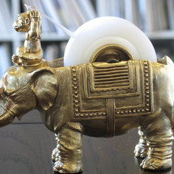 Monkey and Elephant for Your Desk - Doubtless the most elegant tape dispenser ever, this work of art is custom made by a New York sculptor. This elephant and monkey belong on the desk of any lover of Chinoiserie.